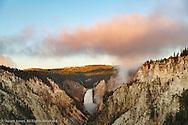 Lower Yellowstone Falls at sunrise, Grand Canon of Yellowstone, Yellowstone National Park, Montana/Wyoming