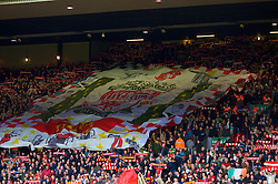 LIVERPOOL, ENGLAND - Saturday, February 23, 2008: Liverpool's fans with a huge banner on the Spion Kop during the Premiership match against Middlesbrough at Anfield. (Photo by David Rawcliffe/Propaganda)