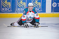 KELOWNA, CANADA - JANUARY 2: Cole Linaker #26 of the Kelowna Rockets warms up on the ice against the  Victoria Royals at the Kelowna Rockets on January 2, 2013 at Prospera Place in Kelowna, British Columbia, Canada (Photo by Marissa Baecker/Shoot the Breeze) *** Local Caption ***