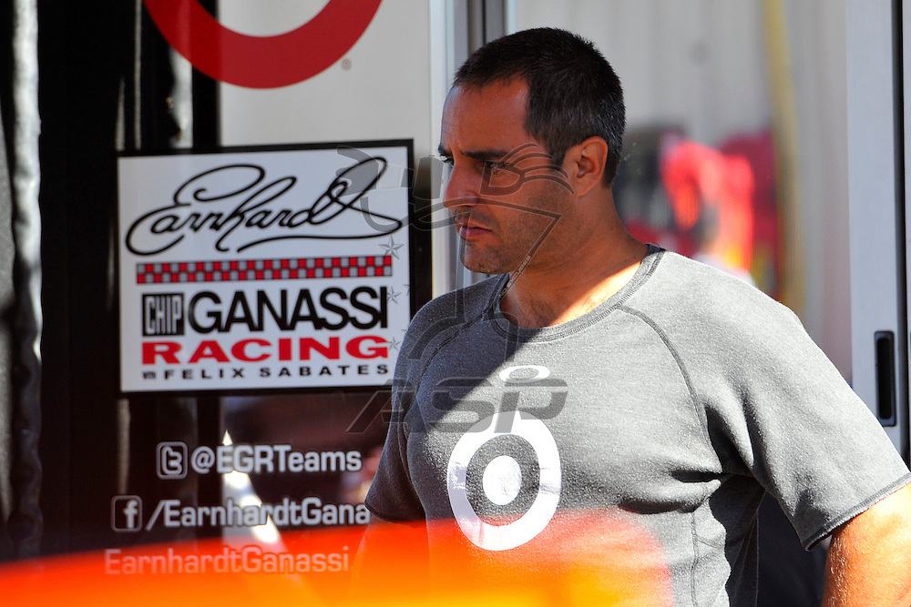 Brooklyn, MI  - Aug 18, 2012: Juan Pablo Montoya (42) stand by his hauler during practice for the Pure Michigan 400 at Michigan International Speedway in Brooklyn, MI.