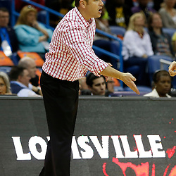April 7, 2013; New Orleans, LA, USA; Louisville Cardinals head coach Jeff Walz instructs against the California Golden Bears during the first half in the semifinals during the 2013 NCAA womens Final Four at the New Orleans Arena. Mandatory Credit: Derick E. Hingle-USA TODAY Sports