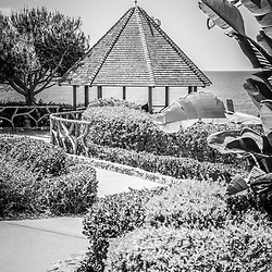 Laguna Beach California gazebo black and white photo. Laguna Beach is a beach community along the Pacific Ocean in Orange County Southern California.
