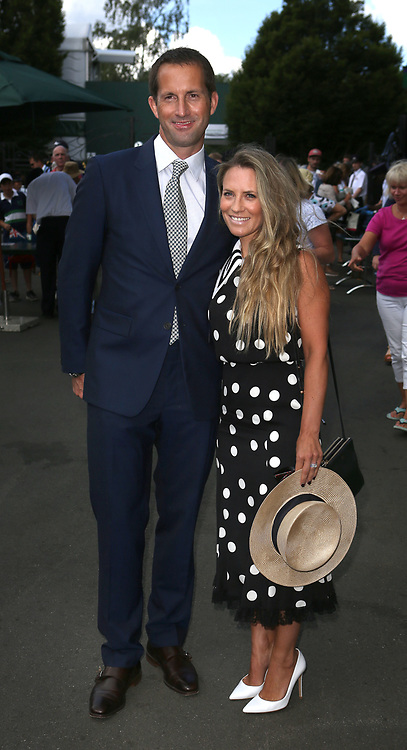Sir Ben and Lady Georgie Ainslie arrive on day eight of the Wimbledon Championships at the All England Lawn Tennis and Croquet Club, Wimbledon.
