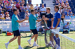 LIVERPOOL, ENGLAND - Sunday, June 24, 2018: Ken Skupski, (GBR) Neal Skupski (GBR) Adam Jones (GBR) and Robert Kendrick (USA) shake hands after their match during day four of the Williams BMW Liverpool International Tennis Tournament 2018 at Aigburth Cricket Club. (Pic by Paul Greenwood/Propaganda)