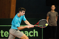 Tilen Zitnik of Slovenia in action during Day 3 of the tennis matches between Slovenia and Monaco of 2017 Davis Cup Europe/Africa Zone Group II, on February 5, 2017 in Tennis Arena Tabor, Maribor Slovenia. Photo by Vid Ponikvar / Sportida