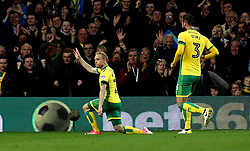 Alex Pritchard of Norwich City celebrates scoring a goal to make it 2-0 - Mandatory by-line: Robbie Stephenson/JMP - 21/04/2017 - FOOTBALL - Carrow Road - Norwich, England - Norwich City v Brighton and Hove Albion - Sky Bet Championship