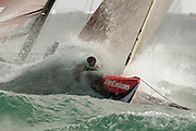 Conditions were getting interesting by the time BMW Oracle racing and Luna Rossa Challenge raced on day one of the second Round Robin of the Louis Vuitton Pacific Series. 5/2/2009
