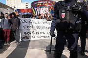 France, Paris, 5 April 2016. Protest rally against the labor reform law project. Riot Police divides protesters in two in order to arrest some of them.