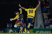 Kent Batsman Daniel Bell-Drummond is stumped off the bowling of Hampshire T20 all rounder Shahid Afridi during the NatWest T20 Blast South Group match between Hampshire County Cricket Club and Kent County Cricket Club at the Ageas Bowl, Southampton, United Kingdom on 2 June 2016. Photo by David Vokes.