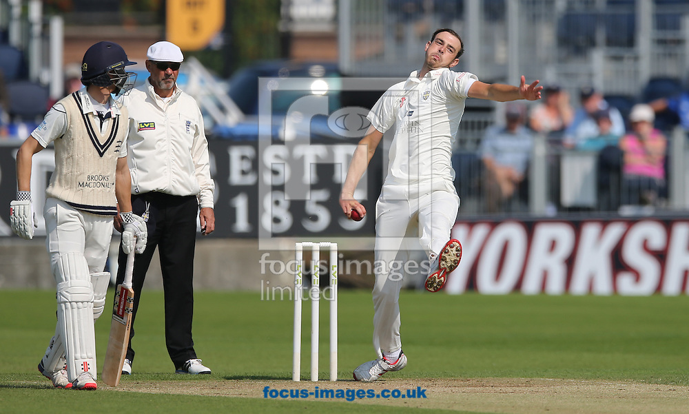James Weighell (r) of Durham bowling during the LV County Championship Div One match at Emirates Durham ICG, Chester-le-Street<br /> Picture by Simon Moore/Focus Images Ltd 07807 671782<br /> 23/08/2015