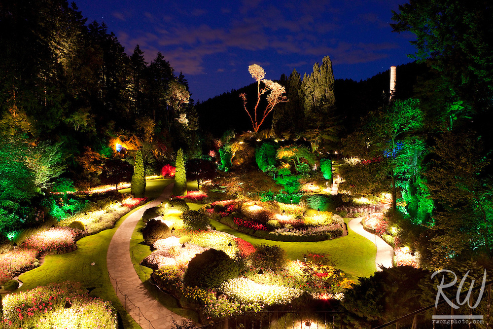 Sunken Garden Overlook Night View at the Butchart Gardens, Brentwood Bay, Vancouver Island, B.C.