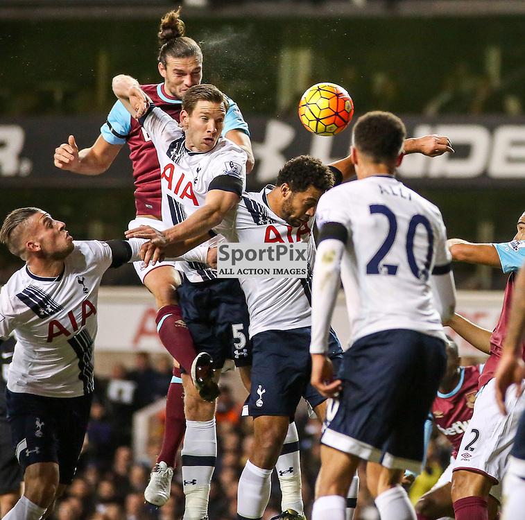 Andy Carroll, Jan Vertonghen During Tottenham Hotspur vs West Ham United on Sunday the 22nd November 2015.