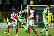 Forest Green Rovers Farrend Rawson(6) heads the ball clear during the EFL Trophy group stage match between Forest Green Rovers and U21 Arsenal at the New Lawn, Forest Green, United Kingdom on 7 November 2018.