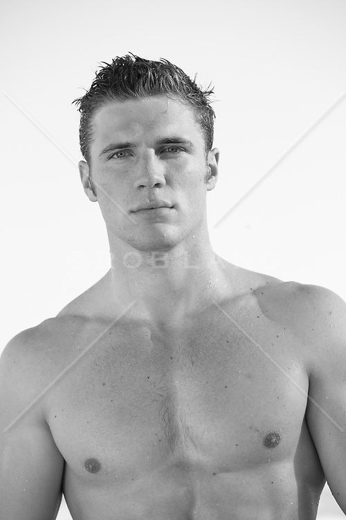 portrait of shirtless All American handsome man