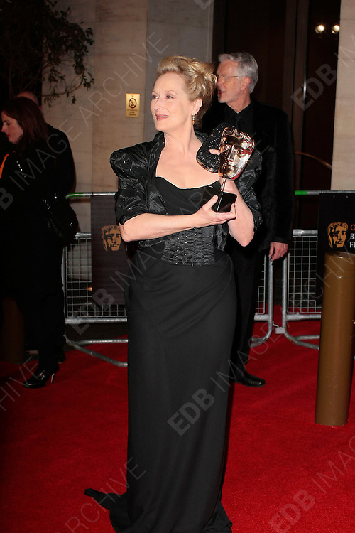 12.FEBRUARY.2012. LONDON<br /> <br /> MERYL STREEP ATTENDS THE ORANGE BRITISH ACADEMY FILM AWARDS AFTER PARTY AT THE GROSVENOR HOUSE HOTEL IN LONDON<br /> <br /> BYLINE: EDBIMAGEARCHIVE.COM<br /> <br /> *THIS IMAGE IS STRICTLY FOR UK NEWSPAPERS AND MAGAZINES ONLY*<br /> *FOR WORLD WIDE SALES AND WEB USE PLEASE CONTACT EDBIMAGEARCHIVE - 0208 954 5968*