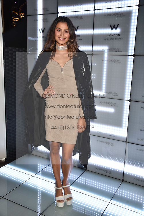 Katie Keight at the official launch of The Perception at W London, 10 Wardour Street, London England. 7 November 2017.<br /> Photo by Dominic O'Neill/SilverHub 0203 174 1069 sales@silverhubmedia.com