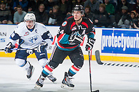 KELOWNA, CANADA - DECEMBER 3: Tyson Baillie #24 of Kelowna Rockets skates against the Saskatoon Blades on December 3, 2014 at Prospera Place in Kelowna, British Columbia, Canada.  (Photo by Marissa Baecker/Shoot the Breeze)  *** Local Caption *** Tyson Baillie;