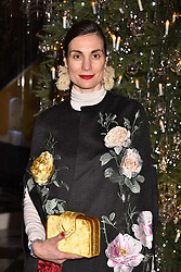 Maria Kastani at reception to celebrate the launch of the Claridge's Christmas Tree 2017 at Claridge's Hotel, Brook Street, London England. 28 November 2017.<br /> Photo by Dominic O'Neill/SilverHub 0203 174 1069 sales@silverhubmedia.com