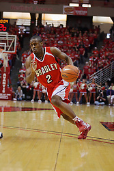 "31 January 2009: Dodie Dunson charges past the 3 point arc. The Illinois State University Redbirds join the Bradley Braves in a tie for 2nd place in ""The Valley"" with a 69-65 win on Doug Collins Court inside Redbird Arena on the campus of Illinois State University in Normal Illinois"