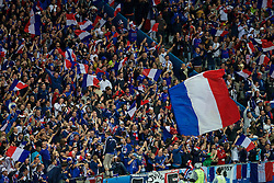 PARIS, FRANCE - Sunday, July 3, 2016: France supporters celebrate the opening goal against Iceland during the UEFA Euro 2016 Championship Semi-Final match at the Stade de France. (Pic by Paul Greenwood/Propaganda)