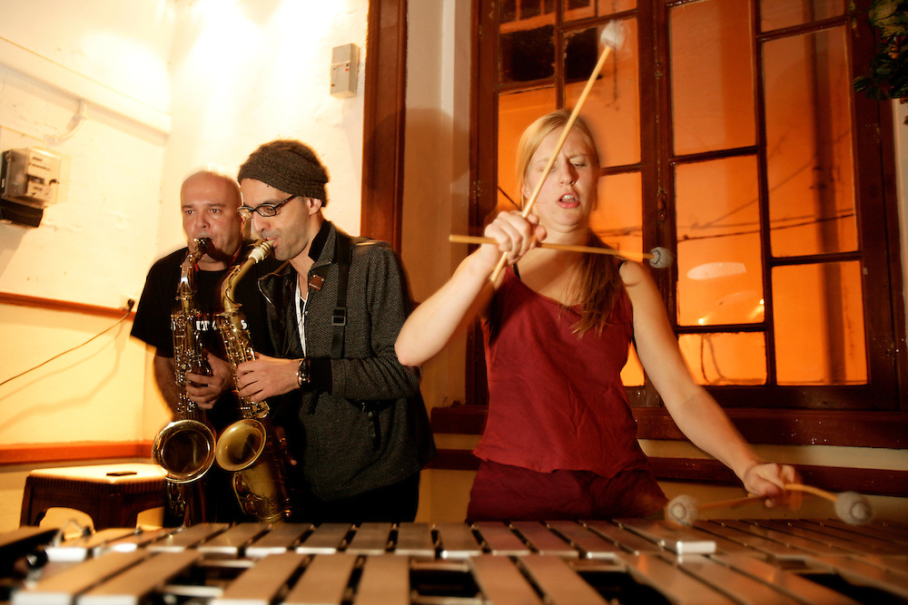 "Brazilian sax player Alipio C.Neto, american saxophonist Michael Attias and belgium vibraphone player Elsa Vandeweyer on a jam session. ""Jazz ao Centro"" jazz festival is held twice a year in portuguese town of Coimbra."
