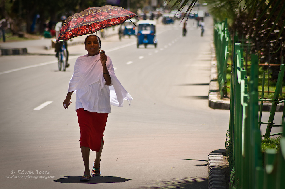 Mid day in Awassa slows down as people try to escape the heat.