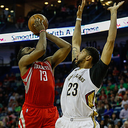 Mar 17, 2017; New Orleans, LA, USA; Houston Rockets guard James Harden (13) shoots over New Orleans Pelicans forward Anthony Davis (23) during the second quarter of a game at the Smoothie King Center. Mandatory Credit: Derick E. Hingle-USA TODAY Sports