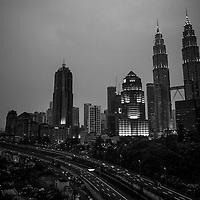 Malaysia's Kuala Lumpur city skyline at night.