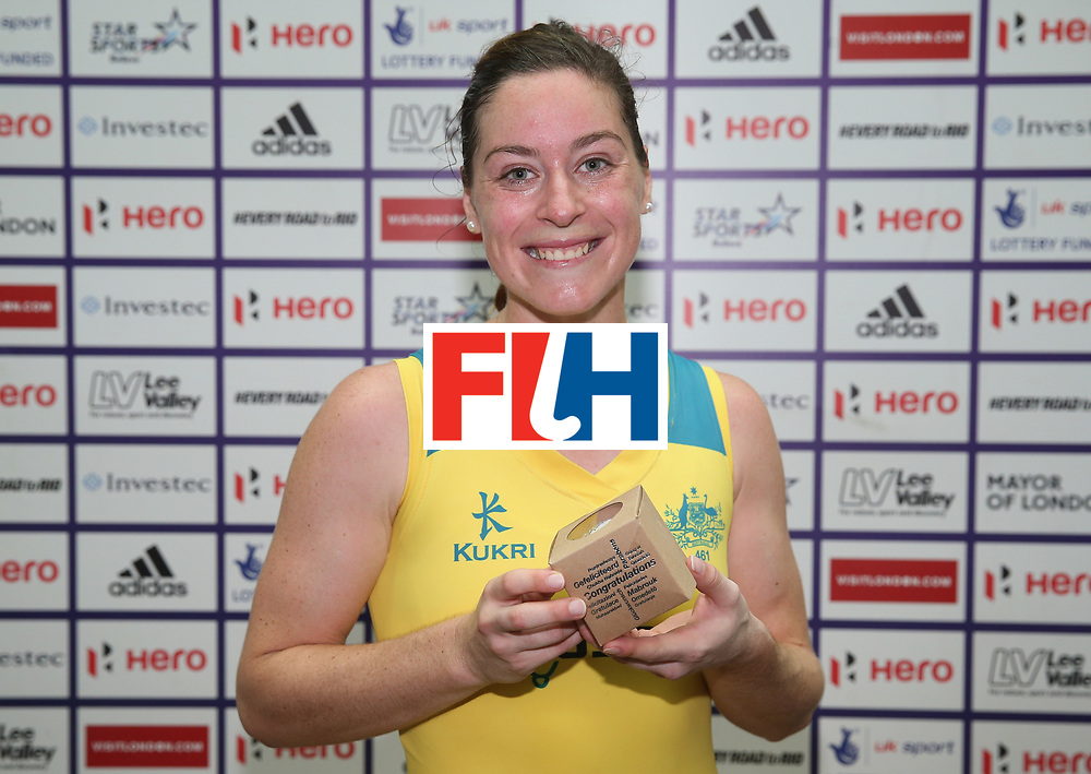 LONDON, ENGLAND - JUNE 19: Karri McMahon is presented with her Milestone award for reaching 100 caps for Australia during the FIH Women's Hockey Champions Trophy match between Australia and New Zealand at Queen Elizabeth Olympic Park on June 19, 2016 in London, England.  (Photo by Alex Morton/Getty Images)