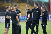 10th August 2019; Dens Park, Dundee, Scotland; SPFL Championship football, Dundee FC versus Ayr; Ayr United players inspect the pitch before the match