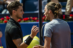 April 26, 2018 - Barcelona, Catalonia, Spain - DOMINIC THIEM (AUT) is congratulated by Jozef Kovalik (SVK) during Day 4 of the 'Barcelona Open Banc Sabadell' 2018. Thiem won 7:6, 6:2 (Credit Image: © Matthias Oesterle via ZUMA Wire)