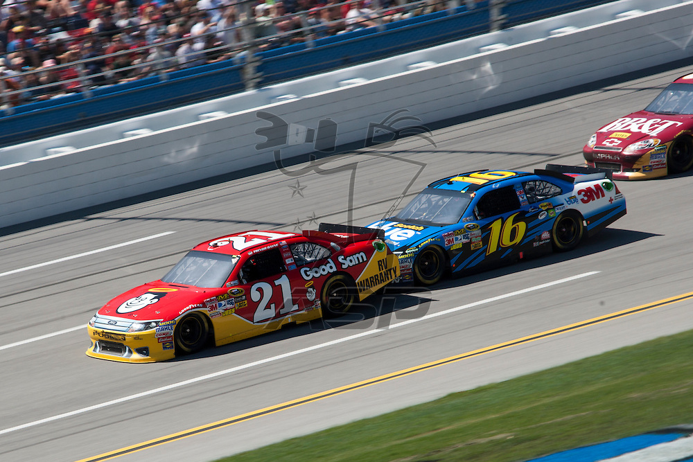 TALLADEGA, AL - APR 17, 2011: Trevor Bayne (21) and Greg Biffle (16) draft during the  at the Talladega Superspeedway in Talladega, AL.
