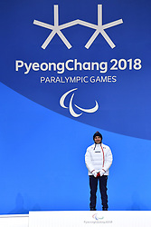 DAVIET Benjamin FRA LW2, ParaBiathlon, Para Biathlon, Podium at PyeongChang2018 Winter Paralympic Games, South Korea.