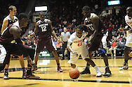 "Mississippi Rebels guard Stefan Moody (42) vs. Texas A&M Aggies forward Kourtney Roberson (14) at the C.M. ""Tad"" Smith Coliseum in Oxford, Miss. on Wednesday, February 4, 2015. (AP Photo/Oxford Eagle, Bruce Newman)"