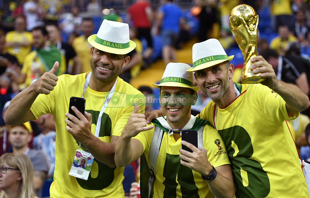 ROSTOV-ON-DON, June 17, 2018  Fans of Brazil cheer prior to a group E match between Brazil and Switzerland at the 2018 FIFA World Cup in Rostov-on-Don, Russia, June 17, 2018. (Credit Image: © Chen Yichen/Xinhua via ZUMA Wire)