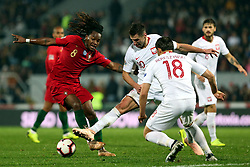 LISBON, Nov. 21, 2018  Renato Sanches (front L) of Portugal vies with Grzegorz Krychowiak (C) of Poland during the UEFA Nations League soccer match League A Group 3 between Portugal and Poland in Guimaraes, Portugal on Nov. 20, 2018. The match ended with a 1-1 tie. (Credit Image: © Catarina Morais/Xinhua via ZUMA Wire)
