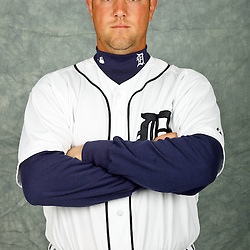 February 28, 2012; Lakeland, FL, USA; Detroit Tigers catcher Bryan Holaday (76) poses for photo day in the rec room at the Detroit Tigers Headquarters.  Mandatory Credit: Derick E. Hingle-US PRESSWIRE