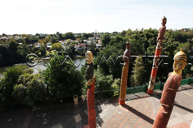 View from SKYCITY, the premiere entertainment destination in the heart of Hamilton?s CBD, where casino and restaurant visitors enjoy spectacular views over the Waikato River, the pou (carved posts) outside the Skycity casino in Hamilton represent ancient M?ori deities and ancestors who mark the historic and cultural significance of the land on which the casino stands, together they create an oval canoe shape, which symbolises their connection with the river they overlook