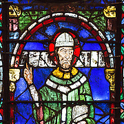Thomas Becket was Archbishop of Canterbury from 1162 until his murder in 1170. Stained glass in Canterbury Cathedral.