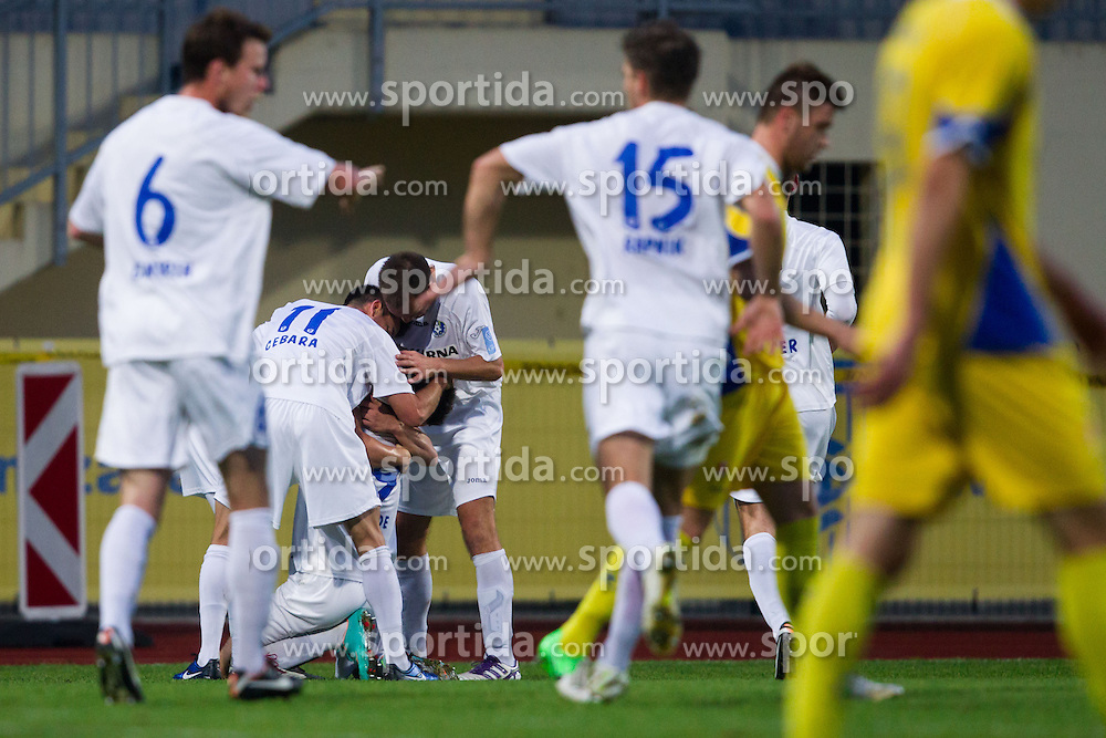 Players of Celje celebrate after scoring a goal during football match between NK Domzale and NK Celje in 20th Round of PrvaLiga NZS 2012/13  on November 24, 2012 in Sportni park Domzale, Domzale, Slovenia.(Photo By Matic Klansek Velej / Sportida)