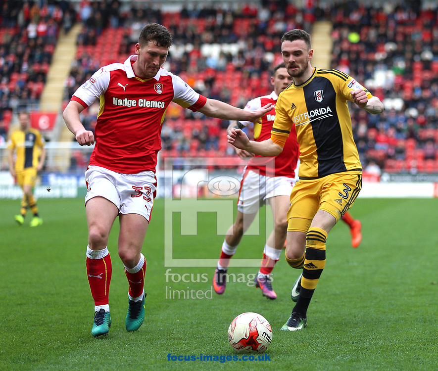Richie Smallwood (left) of Rotherham United tackles Scott Malone of Fulham during the Sky Bet Championship match at the New York Stadium, Rotherham<br /> Picture by James Wilson/Focus Images Ltd 07709 548263<br /> 01/04/2017