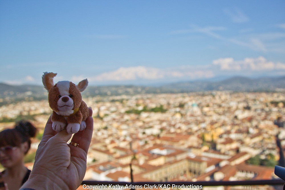 Trudy on tope of the dome of the Santa Maria del Fiore in Florence, Firenze, Italy.
