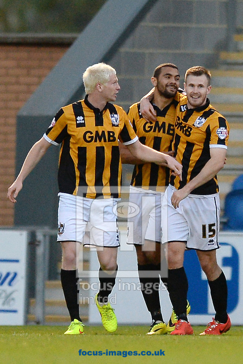 Colin Daniel of Port Vale (middle) celebrates scoring his sides second goal to make the scoreline 2-0 during the Sky Bet League 1 match between Colchester United and Port Vale at the Weston Homes Community Stadium, Colchester<br /> Picture by Richard Blaxall/Focus Images Ltd +44 7853 364624<br /> 01/11/2014