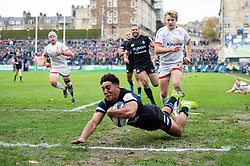 Gabriel Hamer-Webb of Bath Rugby scores a try in the second half - Mandatory byline: Patrick Khachfe/JMP - 07966 386802 - 16/11/2019 - RUGBY UNION - The Recreation Ground - Bath, England - Bath Rugby v Ulster Rugby - Heineken Champions Cup