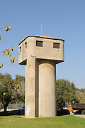 Israel, Lower Galilee, Kibbutz Alonim founded 1938. The water tower also doubled as a lookout and guard post