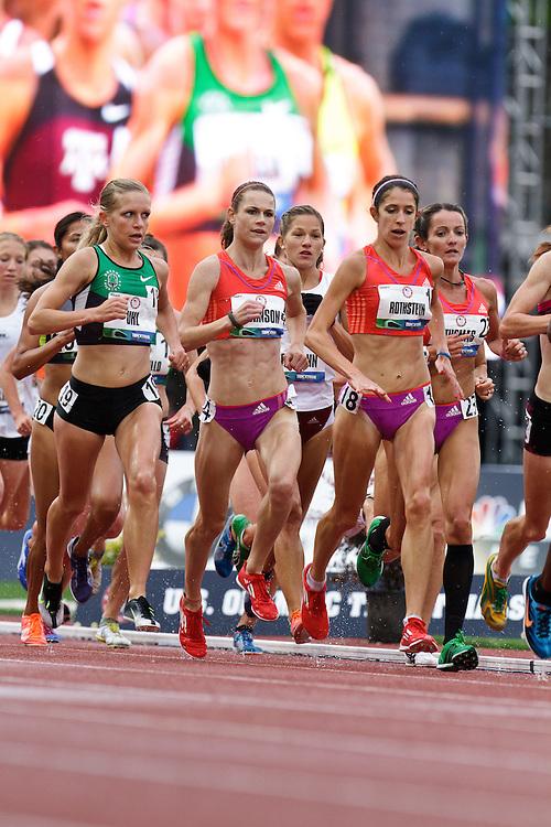 Olympic Trials Eugene 2012: women's 10,000 meter final, pack of runners, Uhl, Johnson, Rothstein