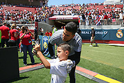 Manchester United Goalkeeper Joel Pereira has a selfie with young fan during the AON Tour 2017 match between Real Madrid and Manchester United at the Levi's Stadium, Santa Clara, USA on 23 July 2017.