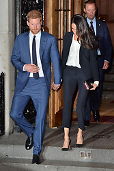 © Licensed to London News Pictures. 01/02/2018. London, UK. HRH PRINCE HARRY and fiance MEGHAN MARKLE leave the Endeavour Fund Awards at Goldsmith's Hall. Photo credit: Ray Tang/LNP