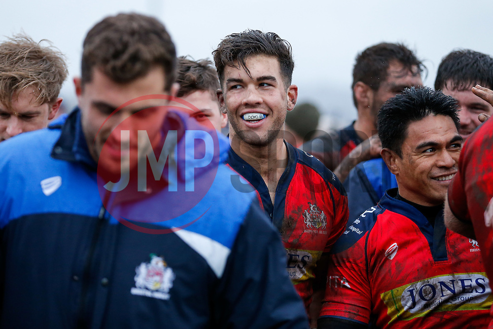 Bristol Rugby Inside Centre Ben Mosses smiles after Bristol Rugby win the game 17-36 - Mandatory byline: Rogan Thomson/JMP - 06/02/2016 - RUGBY UNION - Clifton Lane - Rotherham, England - Rotherham Titans v Bristol Rugby - Greene King IPA Championship.