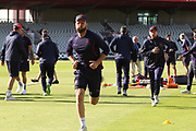 Lancashires Arron Lilley warms up during the Vitality T20 Blast North Group match between Lancashire Lightning and Birmingham Bears at the Emirates, Old Trafford, Manchester, United Kingdom on 10 August 2018.